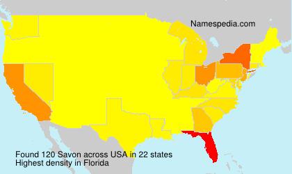 Familiennamen Savon - USA