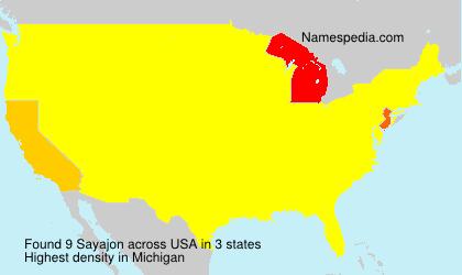 Surname Sayajon in USA