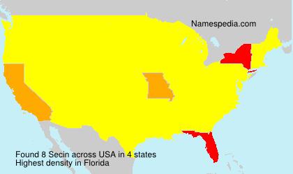 Familiennamen Secin - USA