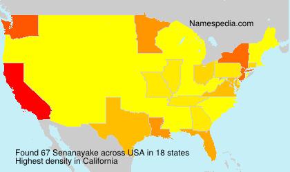 Familiennamen Senanayake - USA