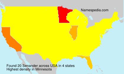 Surname Senander in USA