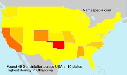 Surname Sensintaffar in USA