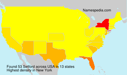 Surname Setford in USA