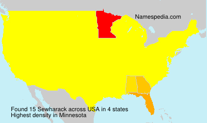 Surname Sewharack in USA