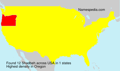 Surname Shadbeh in USA