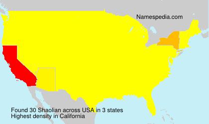 Familiennamen Shaolian - USA