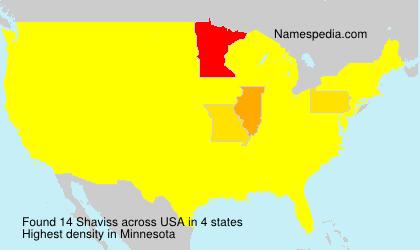 Surname Shaviss in USA