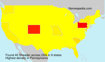 Familiennamen Sheader - USA