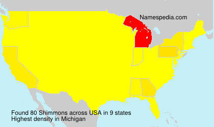 Surname Shimmons in USA