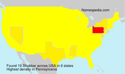 Familiennamen Shubbar - USA