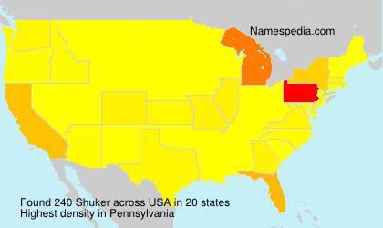Surname Shuker in USA