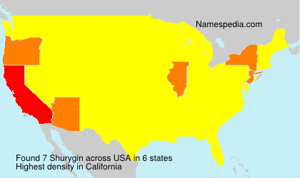 Surname Shurygin in USA