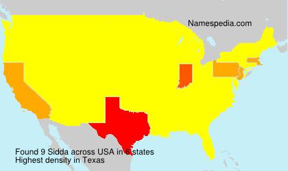 Surname Sidda in USA