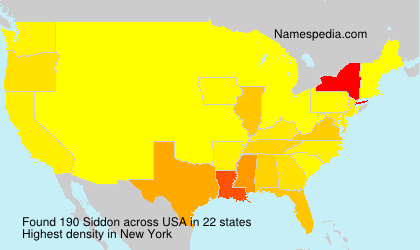 Surname Siddon in USA