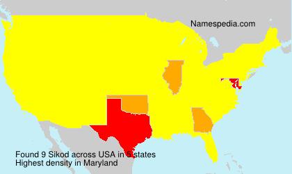 Familiennamen Sikod - USA