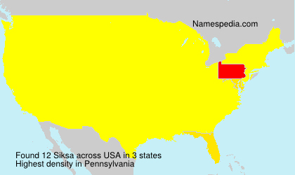 Surname Siksa in USA