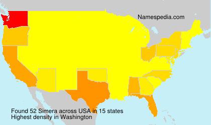 Surname Simera in USA