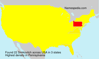 Familiennamen Simkovitch - USA