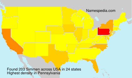 Surname Simmen in USA