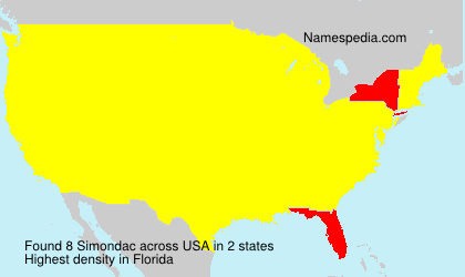 Surname Simondac in USA
