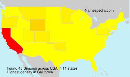 Surname Simondi in USA