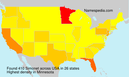 Familiennamen Simonet - USA