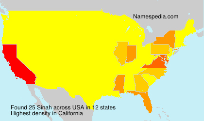 Surname Sinah in USA