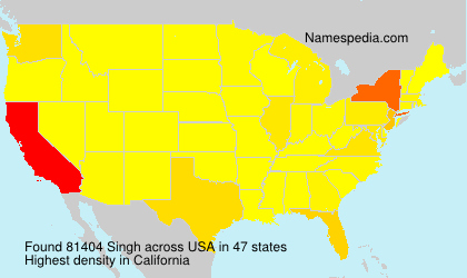 Surname Singh in USA