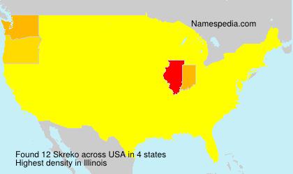 Familiennamen Skreko - USA