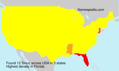 Familiennamen Smuz - USA