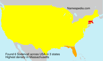 Surname Sodervall in USA