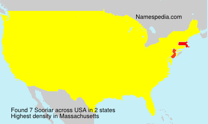 Surname Sooriar in USA