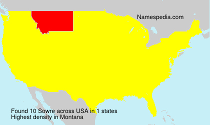 Surname Sowre in USA