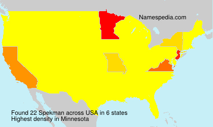 Surname Spekman in USA
