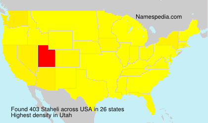 Surname Staheli in USA