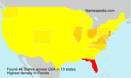 Surname Stahre in USA
