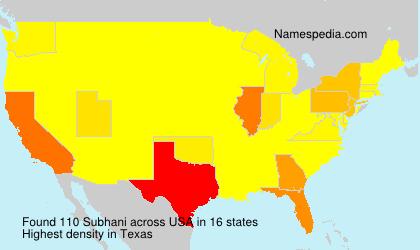 Familiennamen Subhani - USA