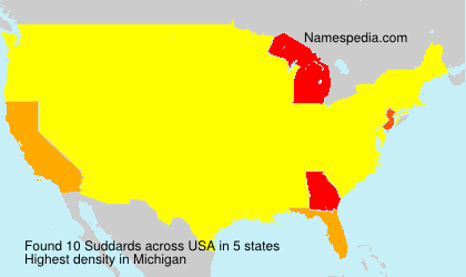 Surname Suddards in USA