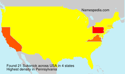 Surname Sukonick in USA