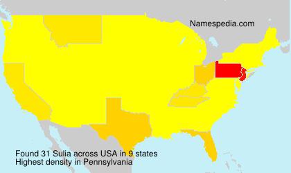 Surname Sulia in USA