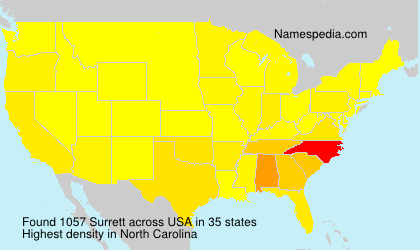 Surname Surrett in USA