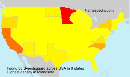 Surname Svendsgaard in USA