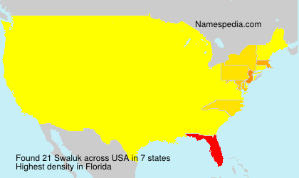 Surname Swaluk in USA