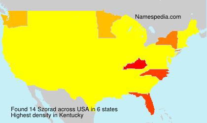 Surname Szorad in USA