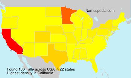 Familiennamen Talle - USA