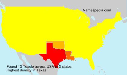 Familiennamen Teacle - USA