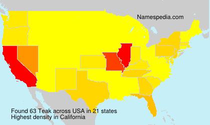 Familiennamen Teak - USA