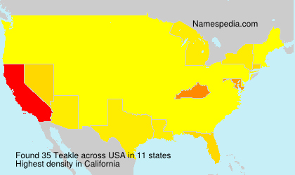 Familiennamen Teakle - USA