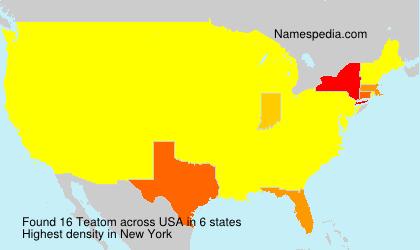 Familiennamen Teatom - USA