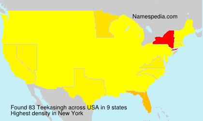 Surname Teekasingh in USA